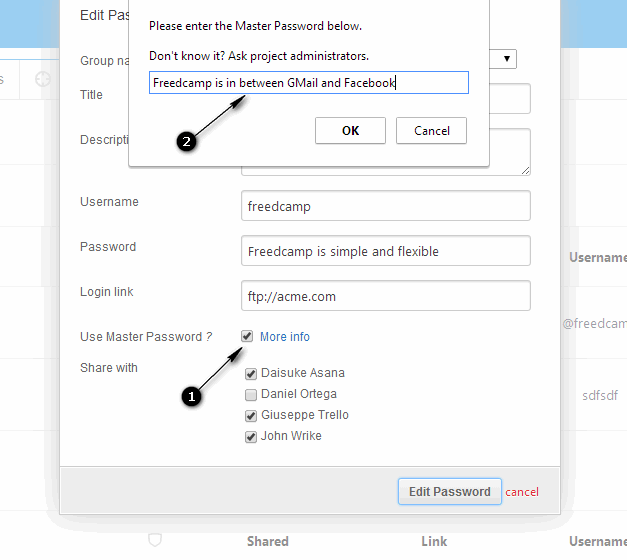 Adding host-proof hosting password Freedcamp's Password Manager