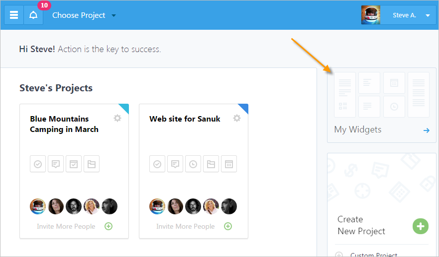 Access Widgets from Dashboard