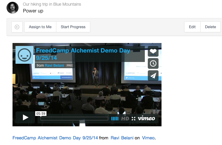 Video added to a task in Freedcamp