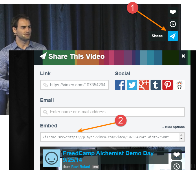 Embed YouTube and Vimeo videos to your posts - Freedcamp
