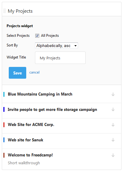 Projects Widget