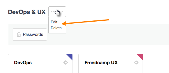 Edit project groups on Freedcamp's Dashboard