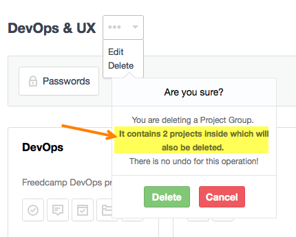 Delete project groups on Freedcamp's Dashboard
