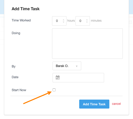 Time - create entry and start tracking