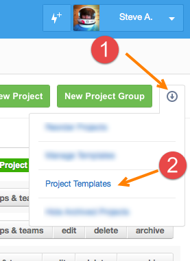 Go to 'Project Templates'