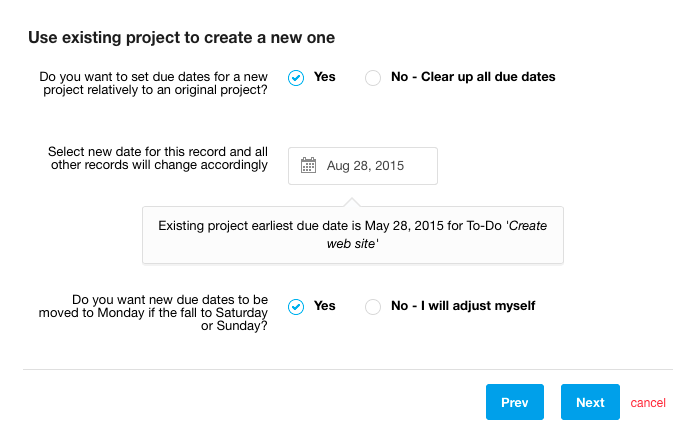 Project Templates - step 2