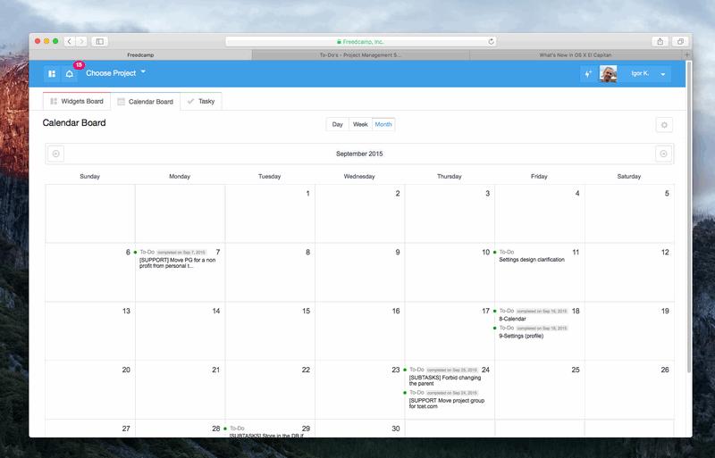 Global Calendar in Freedcamp