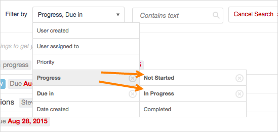 filter overdue tasks not completed