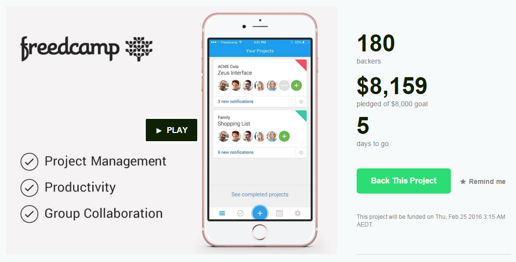 Kickstarter Freedcamp