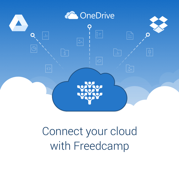 Freedcamp GDrive Dropbox and OneDrive integrations