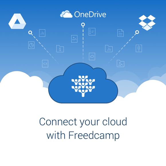 Freedcamp GDrive Dropbox and OneDrive integrations
